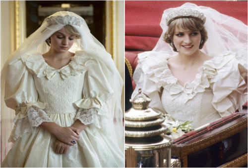Left: The Crown (via Glamour), Right: Diana, Princess of Wales on her wedding day (via Honey Style)