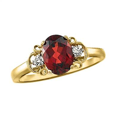 A genuine Mozambique red garnet and diamond ring set in 14K yellow gold at B2C Jewels.