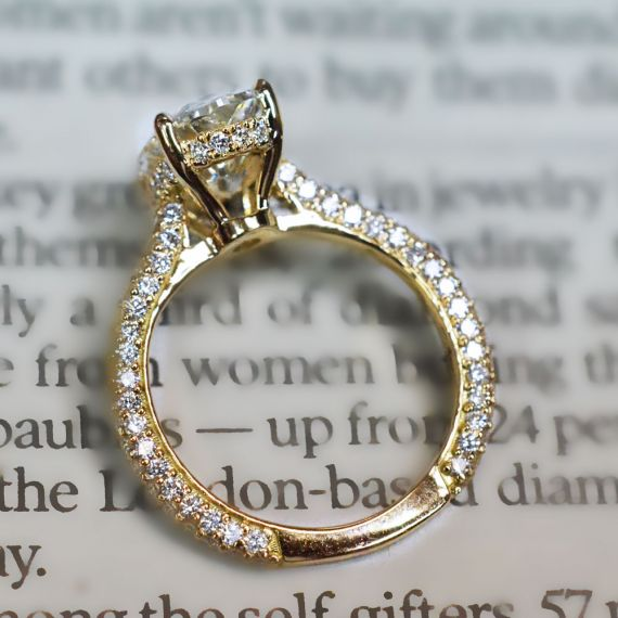 A Micro Pavé Diamond Engagement Ring Setting with Edge to Edge Pavé in 18K Yellow Gold.