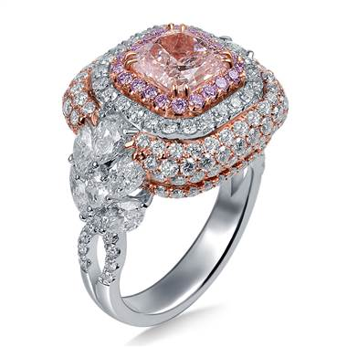 A Fancy Light Pink Diamond With Halo Diamonds and Side Fancy Cut Diamonds In 18K Two Tone Gold.