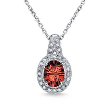 A red garnet diamond halo gemstone pendant necklace set in 14K white gold at B2C Jewels.