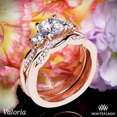 A Valoria Flora Twist 3-Stone Diamond Wedding Set in 18K Rose Gold.