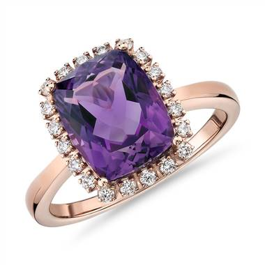 Cushion cut amethyst and diamond halo ring set in 14K rose gold at Blue Nile