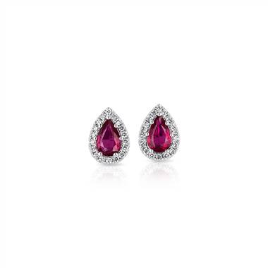 Pear-shaped ruby stud earrings with diamond halo set in 14K white gold at Blue Nile