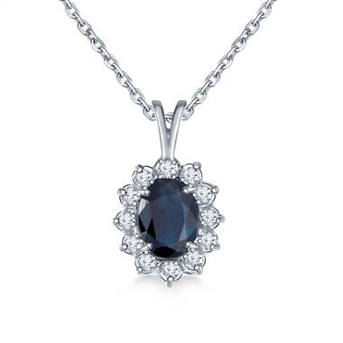 For inspiration: sapphire oval pendant necklace with starburst diamond halo set in 14K white gold at B2C Jewels