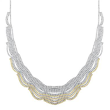Balinese Beaded Necklace in 14K Yellow Gold and Sterling Silver at B2C Jewels