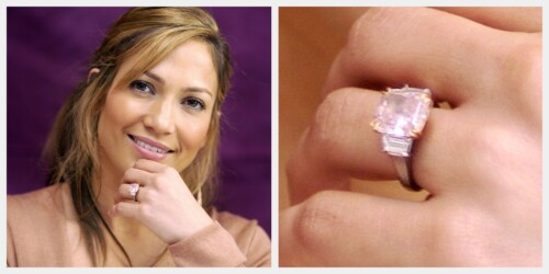 Jennifer Lopez's 6.10 carat Fancy Intense pink diamond engagement ring by Harry Winston from Ben Affleck