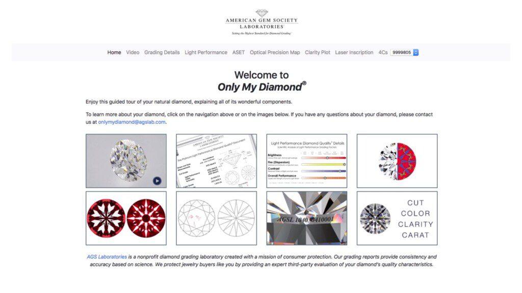 diamond certification - AGS Supplemental Only My Diamond screenshot