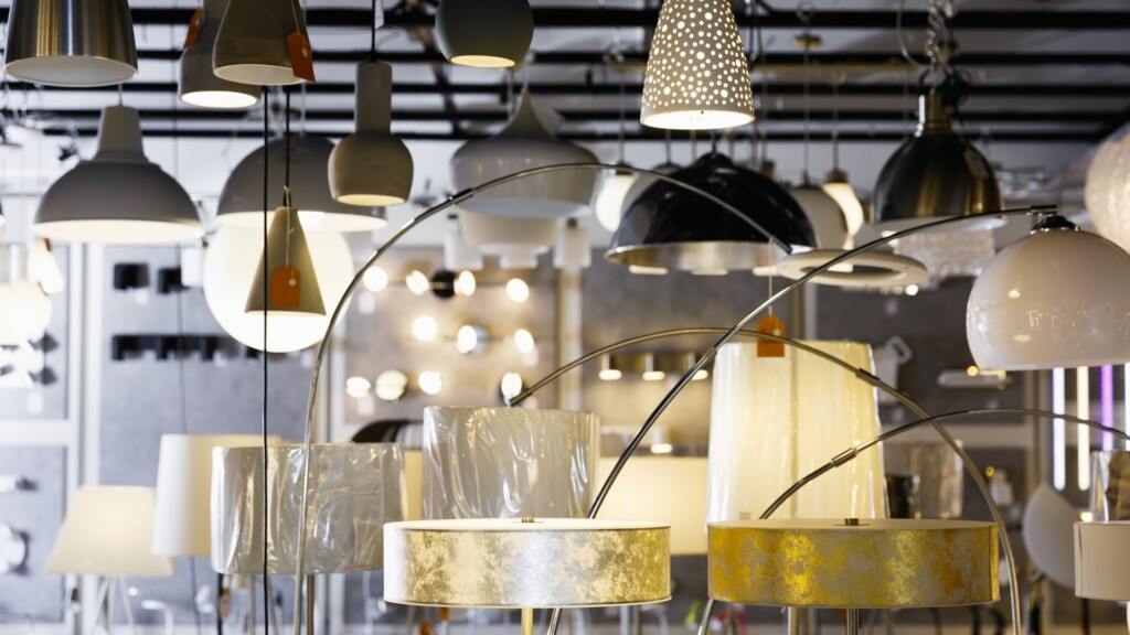 diamond cut - Picture of different modern lamp with lights in the designer furniture store