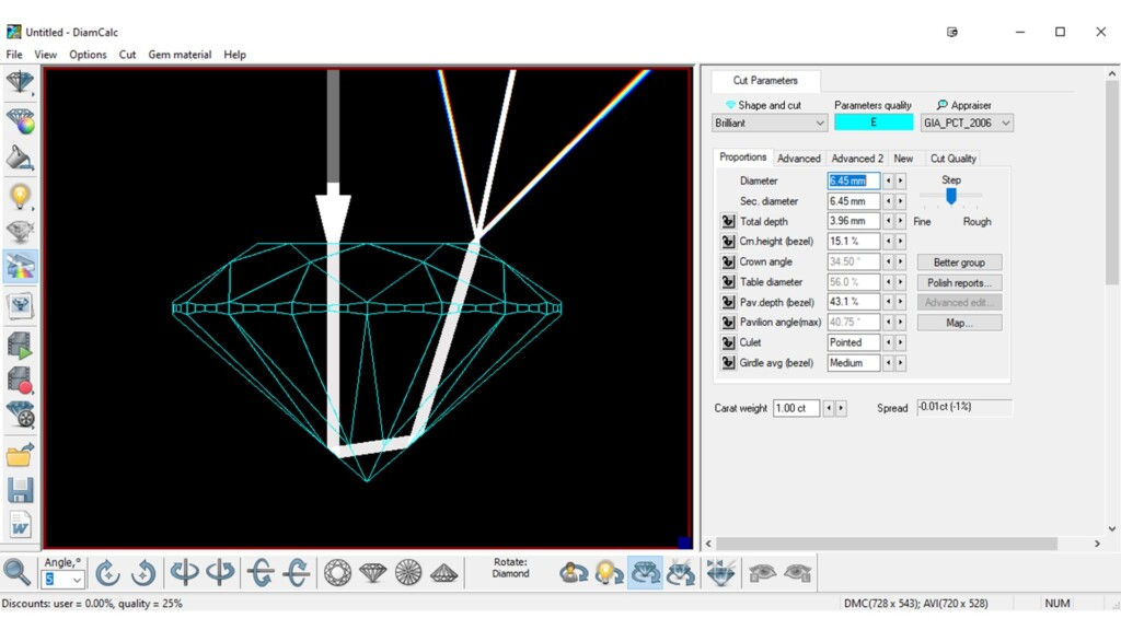 diamond cut - DiamCalc proportions input and ray-tracing example
