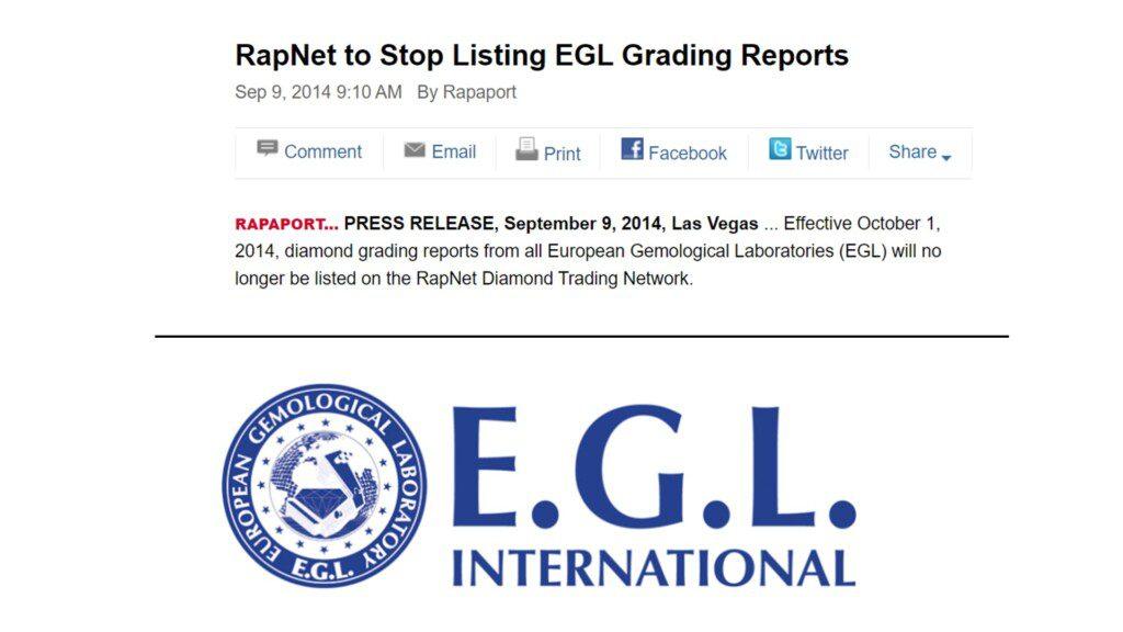 diamond certification - 2014 article stating RapNet will delist EGL graded diamonds