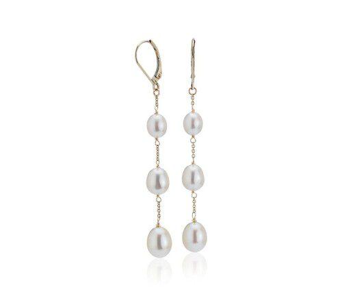 Freshwater Cultured Pearl Line Drop Earrings in 14k Yellow Gold.