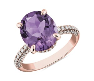 Oval Rose de France Amethyst Statement Ring in 14k Rose Gold.