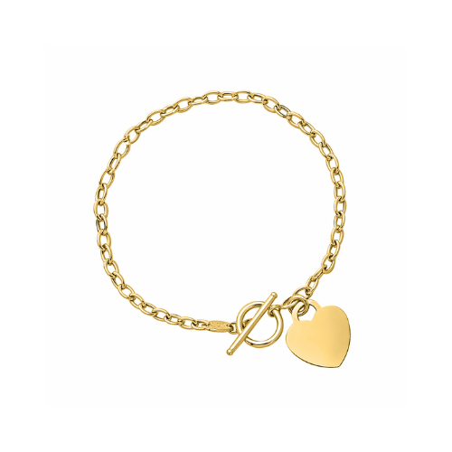 14K Yellow Gold Link Bracelet With Dangling Heart.