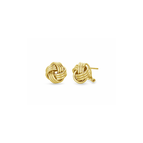 Love Knot Stud Earrings with Omega Back in 14K Yellow Gold.