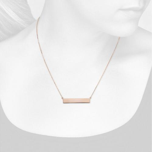Engravable Bar Necklace in 14k Rose Gold.