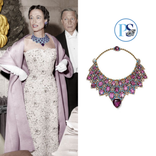 Wallis Simpson, the Duchess of Windsor, wearing her famous Cartier bib necklace set with amethyst and turquoise, created for her in 1947.