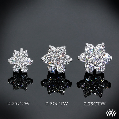 An assortment of cluster earrings at Whiteflash.