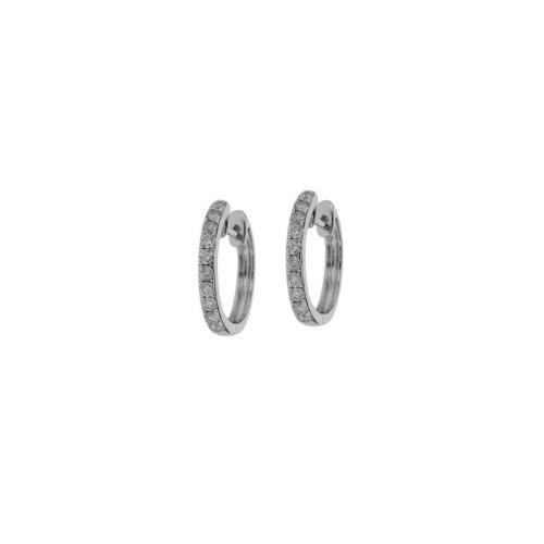 18kt White Gold Pavé Diamond Huggie Earrings.