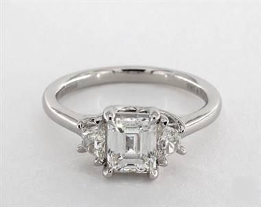 A Trapezoid Diamond Three-Stone Engagement Ring set in Platinum.