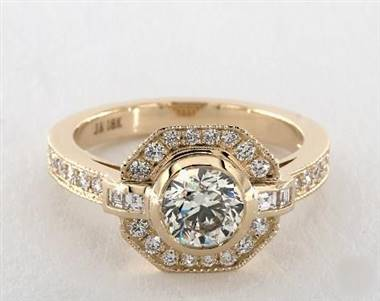 An Art Deco Octagonal-Halo Milgrain Pavé Engagement Ring set in 14K Yellow Gold.