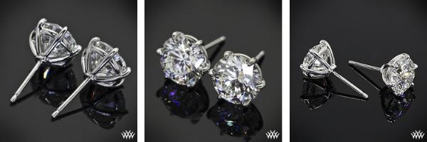 """18k White Gold 6-prong """"Martini"""" Earrings - settings only."""
