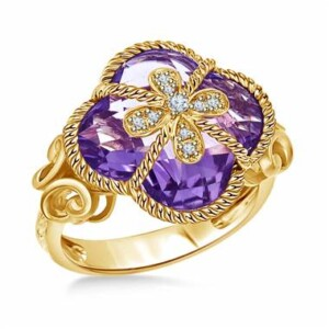 Clover Amethyst and Diamond Cocktail Ring in 14K Yellow Gold.