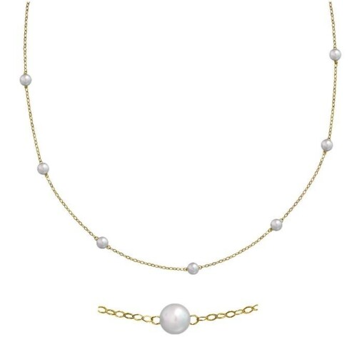 14K Yellow Gold 16 inch Cable Chain With Pearls.