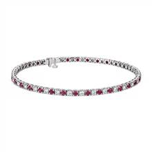 Riviera Ruby and Diamond Bracelet in 14k White Gold.