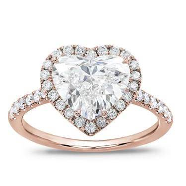 French Cut Pave Heart Halo Engagement Setting.