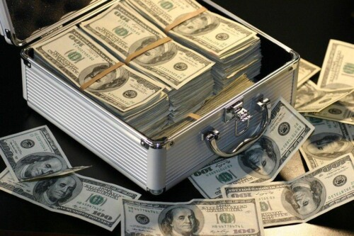 Money in a suitcase.