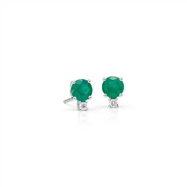 Emerald and Diamond Stud Earrings in 18k White Gold.