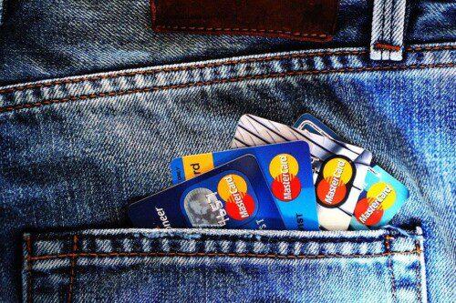 Credit Cards in back pocket.