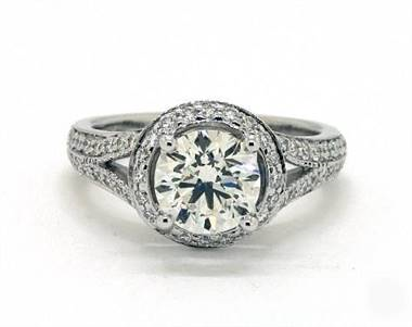 Recessed Halo Split Shank Pave Engagement Ring in 14K White Gold Band.
