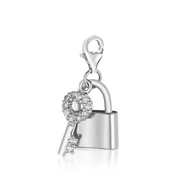 Padlock Style Lock and Key Charm with Crystal in Sterling Silver.