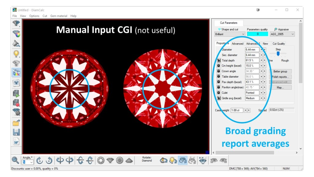 Manual Input CGI of hearts and arrows diamonds