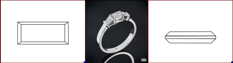 Baguette cut diamond photo and image