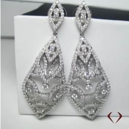 Round Cut Diamond Earrings F SI In 18K White Gold at ID Jewelry