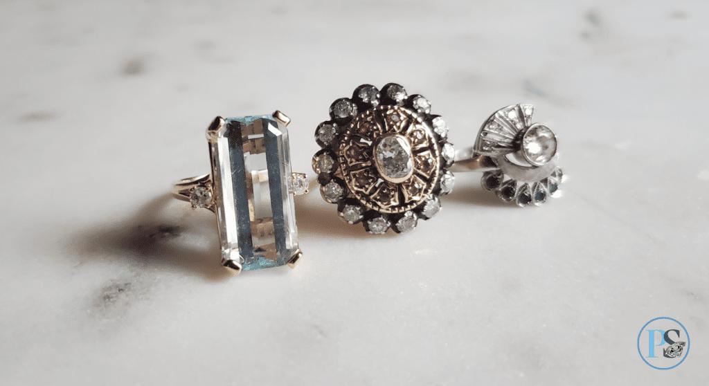 PS Blog 30s cocktail rings aquamarine gold ruby diamond sapphire vintage antique