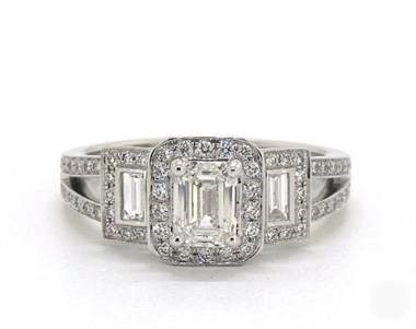 Emerald-Cut-3-Stone Split Shank Engagement Ring at James Allen