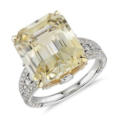 Emerald-Cut Yellow Sapphire and Diamond Ring at Blue Nile