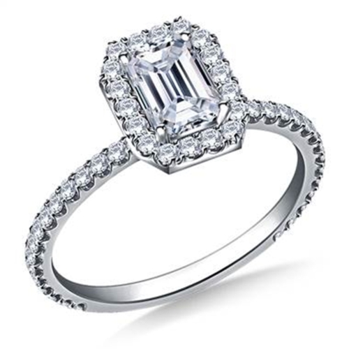Emerald-Cut Diamond Halo Engagement Ring at B2C Jewels