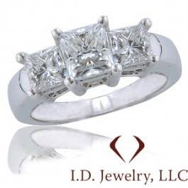Certified 3 Stone Princess Cut Diamond Engagement Ring at I.D. Jewelry