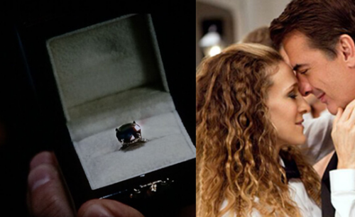 Carrie and Mr.Big Embraces, side by side with an image of the black diamond ring in a ring box