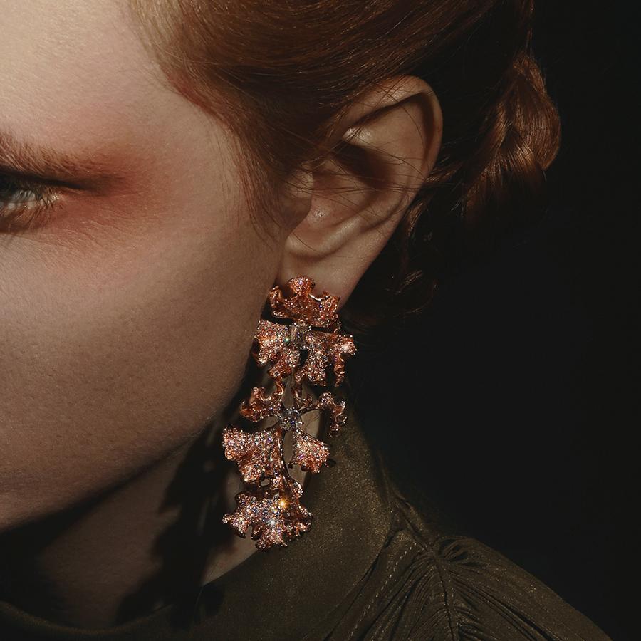 Brassica Blossoming Flower Convertible Earrings.