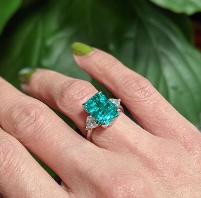 EMERALD, DIAMOND, AND PLATINUM RING