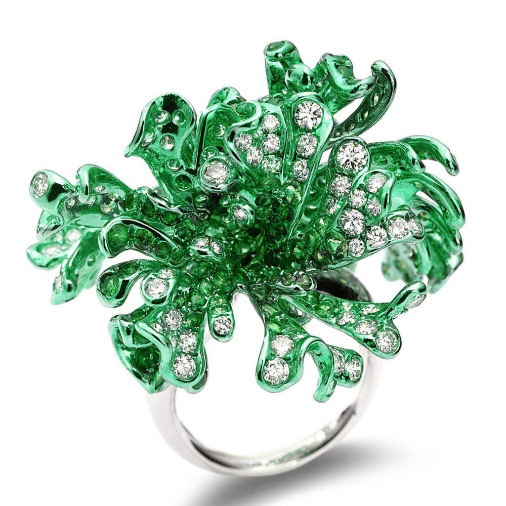Neha Dani Myra ring diamonds and tsavorites.