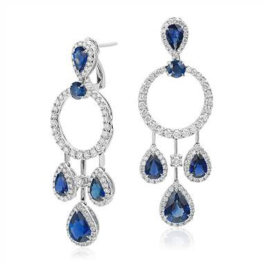 Pear Shape Sapphire and Diamond Drop Earrings in 18k White Gold at Blue Nile
