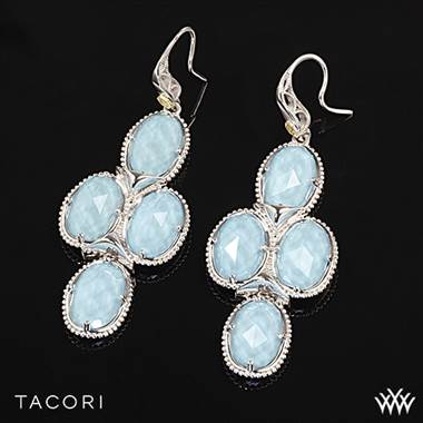Island Rains Clear Quartz over Neolite Turquoise Chandelier Earrings in Sterling Silver with 18K Yellow Gold Accents