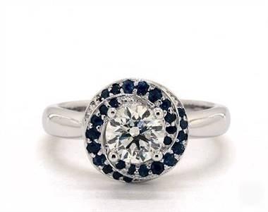 Vintage Halo Swirl 27-Sapphire Engagement Ring in Platinum